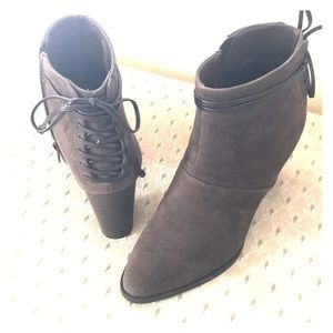 Brown suede faux lace up ankle boots